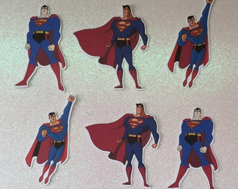 Superman cutouts, cupcake toppers