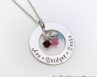 Hand Stamped Jewelry - Personalized Necklace - Personalized Mom Necklace - Hand Stamped Necklace - Mom Necklace