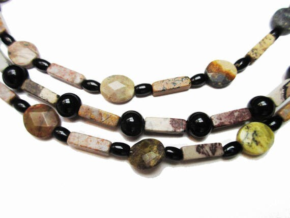 Boho Gemstone bead necklace- Triple strand -  Agate jasper onyx   23 inches   Handmade