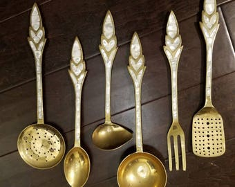 Vintage  Brass and mother of pearl shell serving set Ca. 1960 Very Nice set. made in India