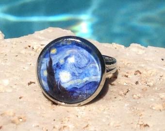 Van Gogh Starry Night art ring, Starry Night ring, fine art ring, Starry Night jewelry, Van Gogh ring, Van Gogh jewelry, Ring #AR145R