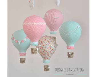 Mint Coral Pink White Hot Air Balloon Mobile Travel Theme Nursery Decor Custom Mobile World Map