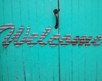 WELCOME sign in Kansas Barn Tin Junk Rusty wall decor home country