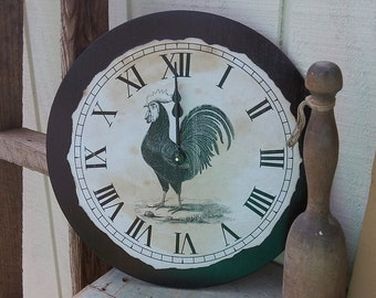 "Clock, Country, Shabby, Chic, Rooster Clock, 12"" x 12"""
