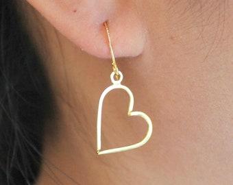 Sterling Silver Heart Design Earrings, Love Heart Earrings