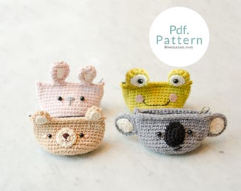 PDF. PATTERN - Cutie Animals Coin Purse, Crochet pattern   Crochet Coin Case   Small Round Pouch   Gift for Her   Pinch.
