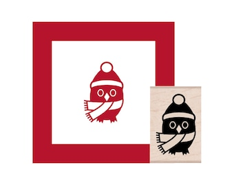 Winter Christmas Owl with Scarf and Hat Rubber Stamp