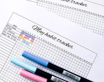 Printable Habit Tracker for A5 planner or bullet journal