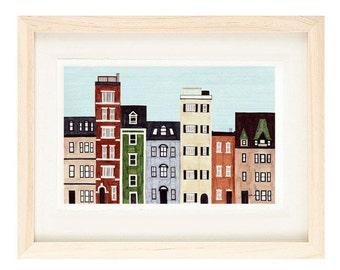 BOSTON, MASSACHUSETTS - 5 x 7 Colorful Illustration Art Print, New England, Brownstones, Red, Green, Blue, Wall Decor