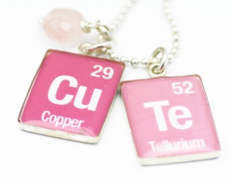 Periodic Table Necklace | Element Charms | Science Jewelry | Geeky Jewelry | Pink Cute Pendants | Holiday Gift | Gift for teens