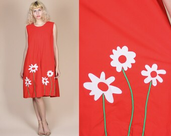 60s Floral House Dress - XL // Vintage Shift Sleeveless Red Mini