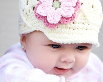 6-12 Months Ivory Newsboy Hat for Girls, White Beanie with Brim, Flower Beanie with Brim, Newsgirl Hat, Baby Hat with Brim, Childrens Hat
