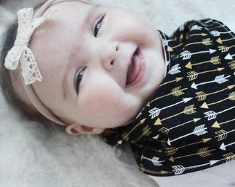 New Baby Gift- Arrows Baby Drool Bib- Baby Bandana Bib- Unique Baby Gift- Organic Baby Bib- Boy Drool Bib- Girl Drool Bib- Drool Bandana Bib