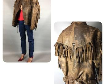 Cowboy jacket 1970s Vintage jacket Faux leather jacket Camel jacket Cowgirl jacket Western jacket Cowboy  Fringe jacket Vintage western 70s