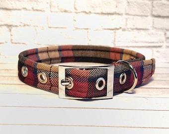Plaid collar, Dog collar, wine Tartan, metal buckle collar, plastic buckle collar, adjustable dog collar, scottish tartan