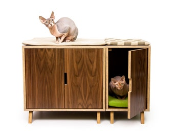 "Mid Century Modern Cat Litter Box Furniture   LARGE Cat Litter Box Cover   Dog & Cat House   Walnut Side Table   ""Modular Cabinet Set"""