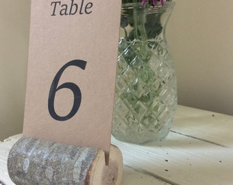 Set of 10 Woodland Branch Log Style Table Number Holders