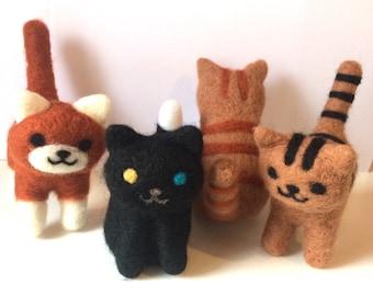 Aguja de fieltro gatos Neko atsume gatitos hechos a pedido