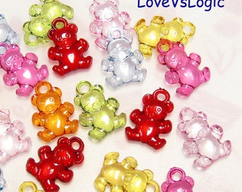 Wholesale. 180 Retro Teddy Bear Acrylic Charms. Mix Icy Colors.