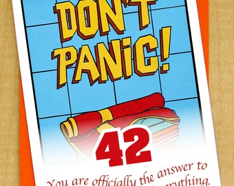 Don't Panic- Greeting Card- Small- Blank card- Hitchhikers Guide to the Galaxy- Towel Day- Zaphod Beeblebrox- Arthur Dent- Marvin- 42
