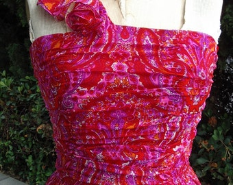 Reduced Paisley Print Silk Chiffon Couture Sample Prom/Dance Gown  Size 8  Item #722  Gowns /Dresses
