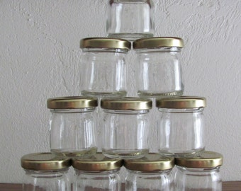 10 Small Jars with Gold Metal Lids Ideal for Your Homemade jellies and Sauces or Containers for Wedding Shower and Party Favors