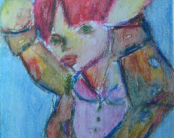 Original ACEO Watercolor Painting- Arms Up