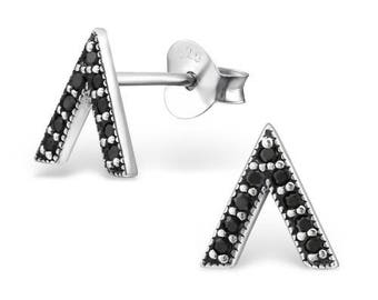 Beautiful Triangle with Cubic Zirconia Sterling Silver Studs Earrings
