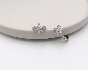 Lovely Flower Marquise Crystal Huggie Hoop Earrings (E-1814)