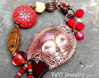 Love Infinitum Face Bracelet, Angel Whisperer, Red, Heart, Knotted Bracelet, Lampwork, Earthy Spiritual Jewelry by YaY Jewelry