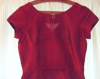 Deep red silk dupion 1950s style fitted blouse, UK size 10
