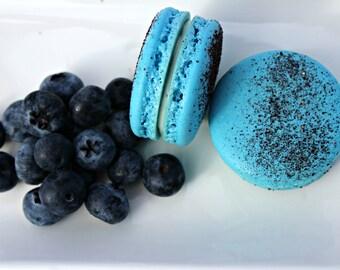 Blue Blueberry cream cheese French Macarons (One Dozen)