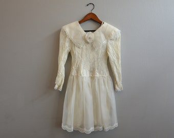 Vintage Cream Flower Girl Dress Jessica McClintock Size 7
