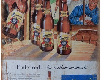 """10"""" x 7"""" Metal Sign Hamms Beer Mellow Moments Ad Vintage Look Reproduction"""