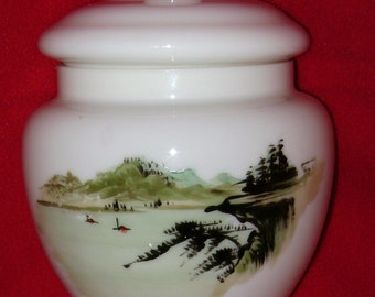 Hand Painted Japanese Lidded glass Jar, Temple Jar, Ginger Jar RARE survivor