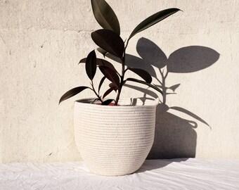 Medium Handmade Cotton Rope Bowl Nautical Basket, bowl, planter