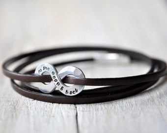 Personalized Infinity Bracelet, XL size charm and leather with personalised stamping on aluminium, Mens and Unisex, leather anniversary