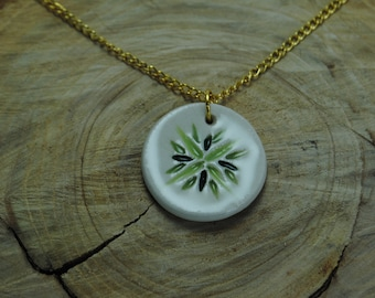 Handcrafted Ceramic Necklace   Green Burst Circle & Gold Chain Necklace