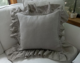 Washed Linen Ruffled Pillow Sham Neutral Linen Pillows Custom Sizes More Fabrics Available