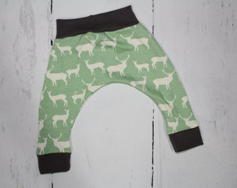 2T ORGANIC Harem Pants, Elk on Algae with Grey Accents, Baby and Kids Harem Pant Leggings