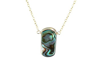 Abalone necklace - shell necklace - rectangle necklace - shell necklace - a wire wrapped abalone shell on a 14k gold vermeil chain