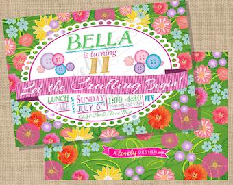 Garden Craft Party Birthday Invitation - Printable File