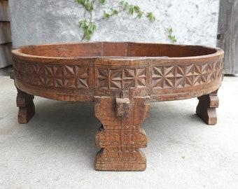 Grinding Table Wooden Chakki Coffee Table Geometric Design