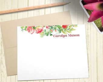 Personalized Stationary, Custom Stationery Set, Thank You Cards, Floral Notecards, A2 Note Cards With Envelope, 12 Flat Note Cards, PS010