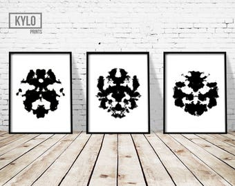 Rorschach Print set, Ink Blot Print, Abstract Poster, Instant Download, Black and White, Home Decor, Minimalist Art, Ink Blot Art, Wall Art