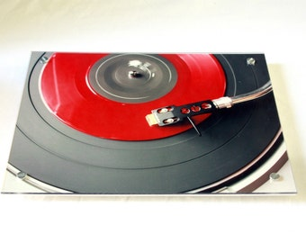 Giant Coaster Table Art .  Retro Red Vinyl Technics Record Turntable Player. blueorder