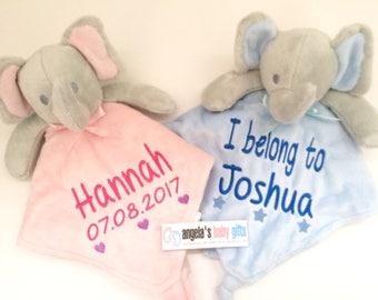 Personalised Comfort Blanket, Baby Elephant Comforter, Blanket Pink Blue Boy Girl Newborn Gift, snuggle blanket.