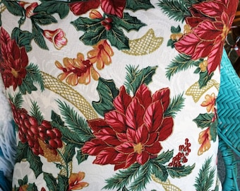 Vintage Christmas pillow cover, poinsettias, pink, burgundy, metallic gold, holly, green, holidays