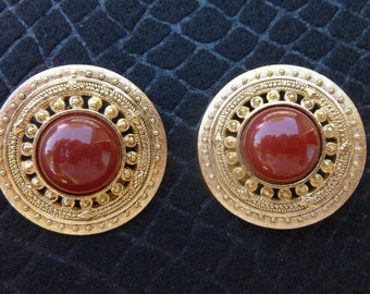 Great Gold and Red circle clip earrings.