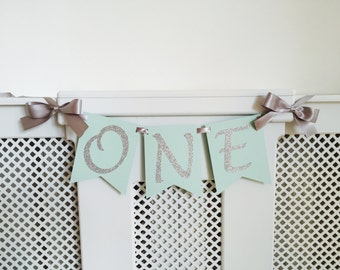 High chair banner. One Highchair banner. Mint and silver. Smash cake. First birthday banner. Girl. Pink and gold